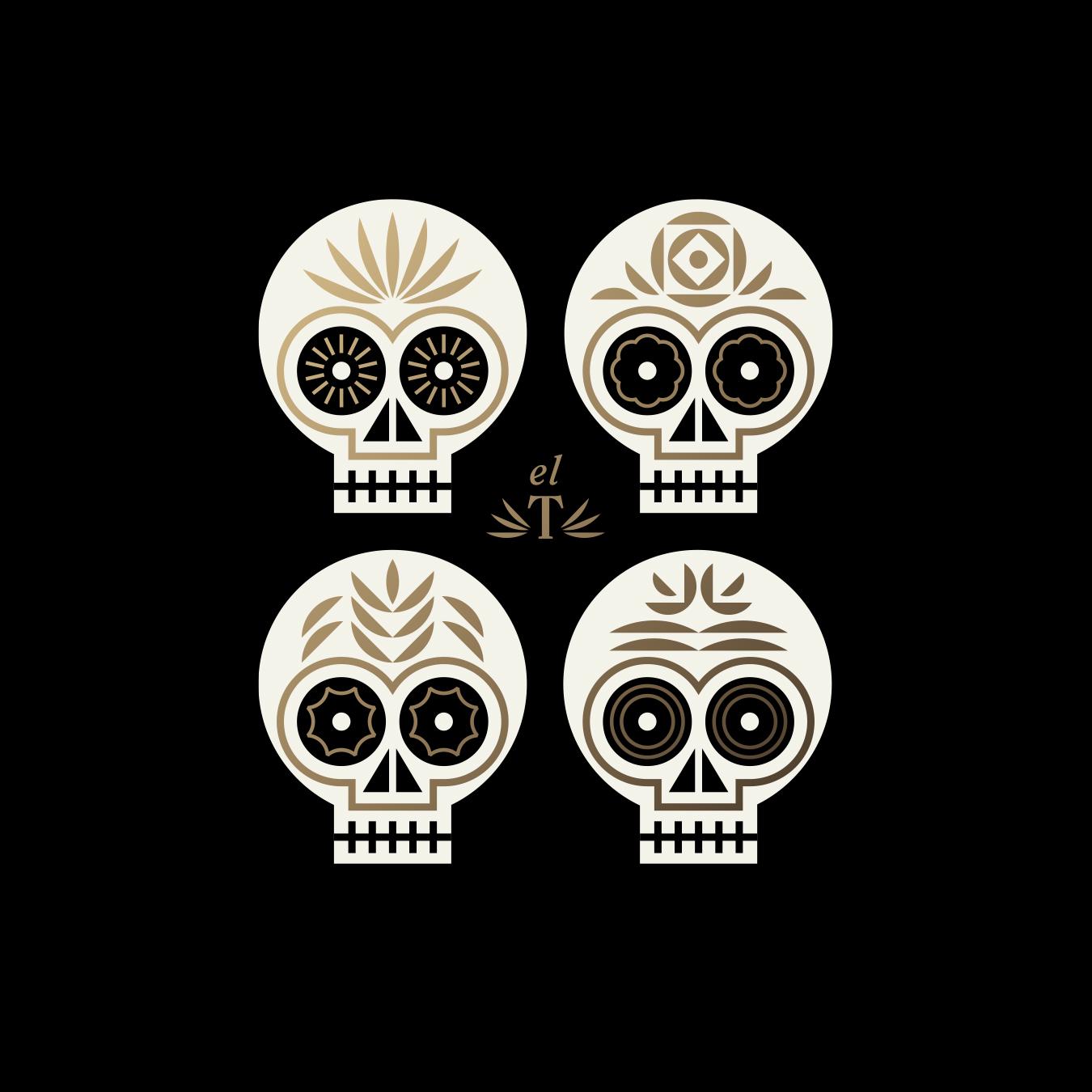 El Thrifty Restaurant Four Skull Illustration