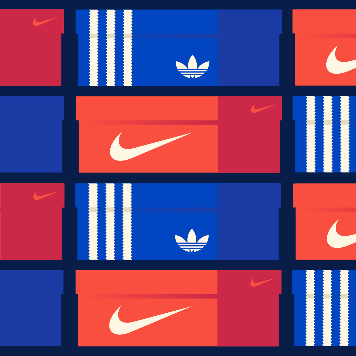 Nike and Adidas Shoe Box Illustration