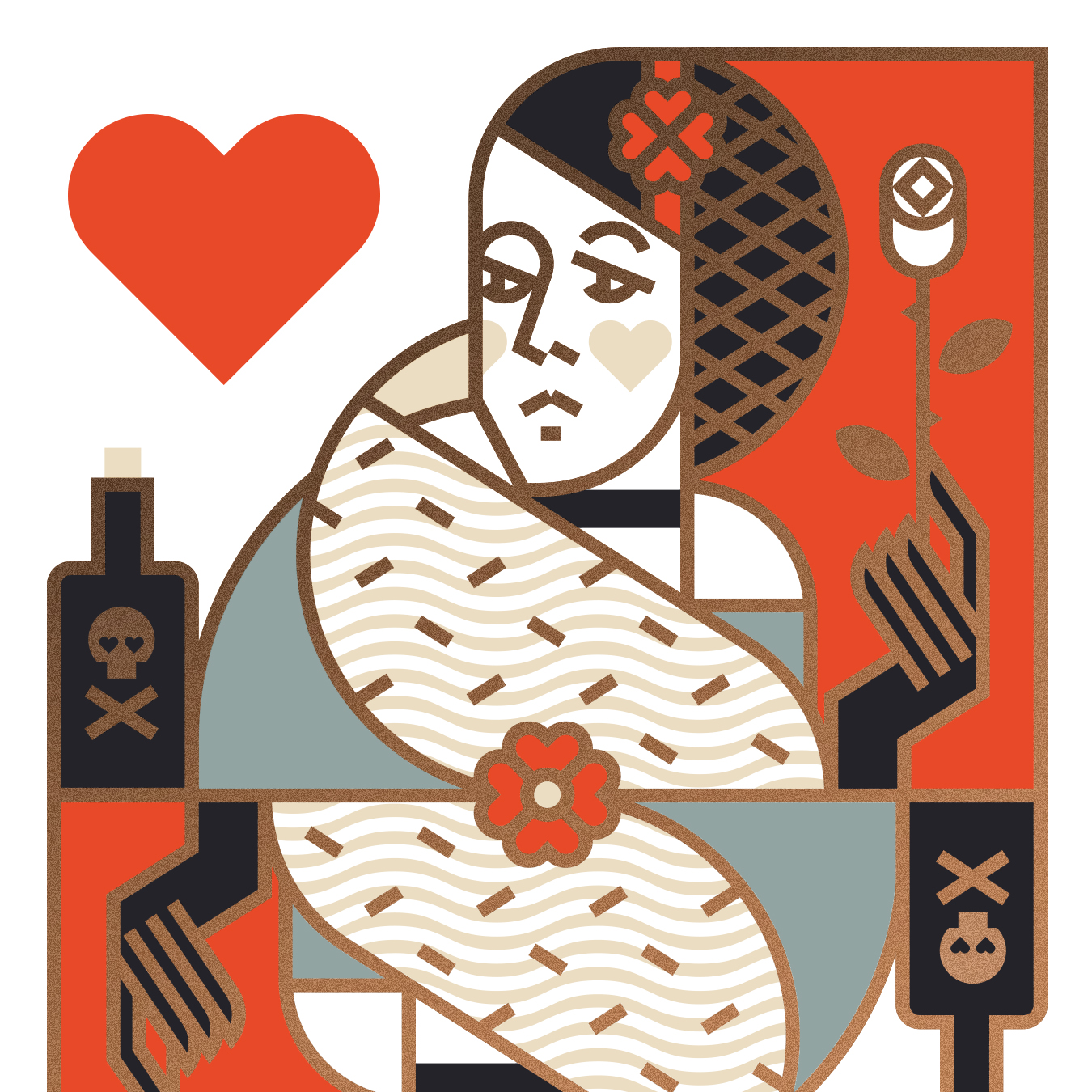Union Playing Card Queen of Hearts Illustration