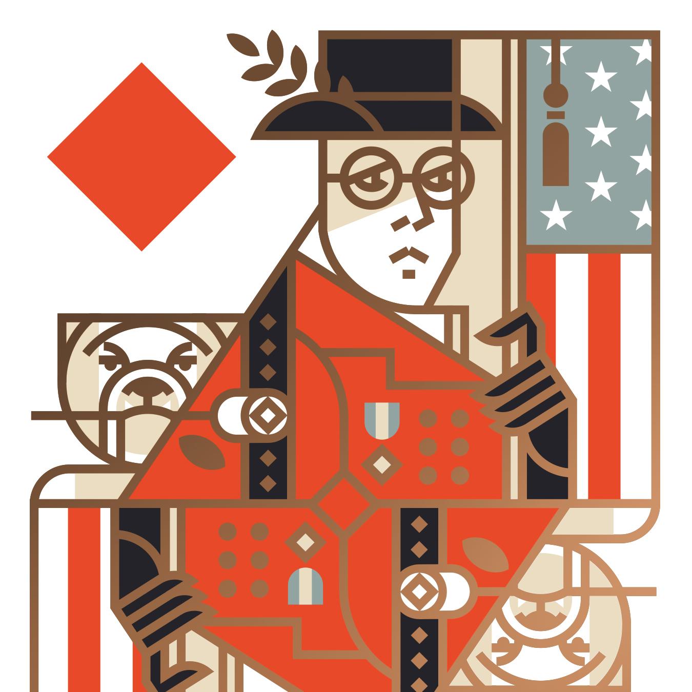 Union Playing Card King of Diamonds English Bulldog Illustration