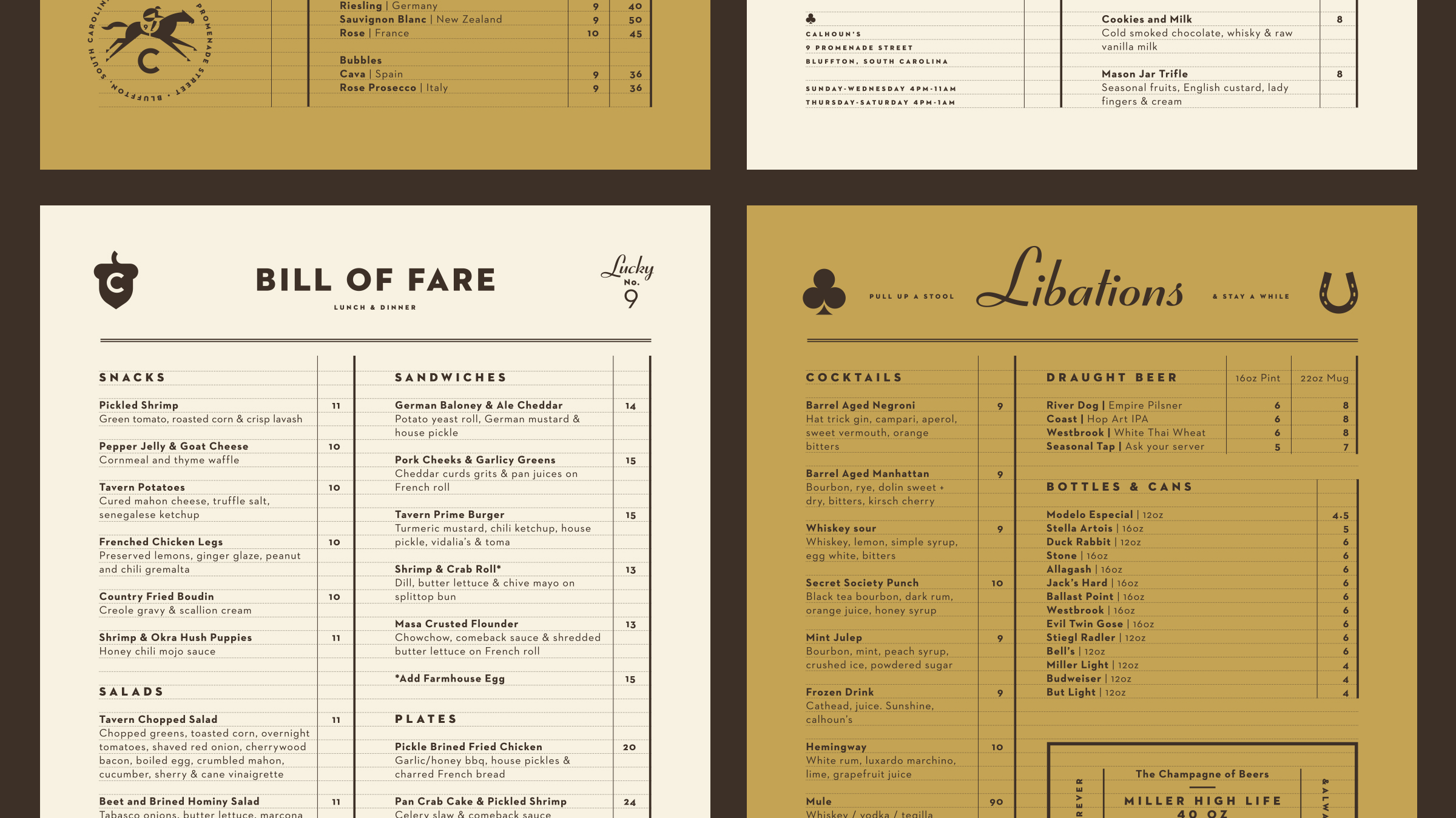 Calhoun's Bluffton Food, Cocktail and Beer Menus