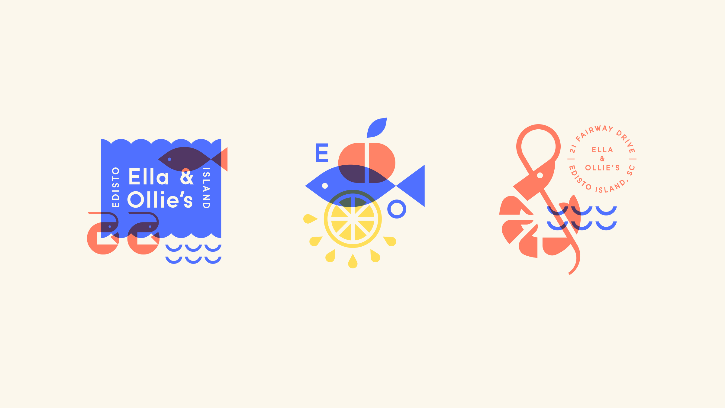 Ella & Ollie's Seafood Restaurant Logo Illustrations