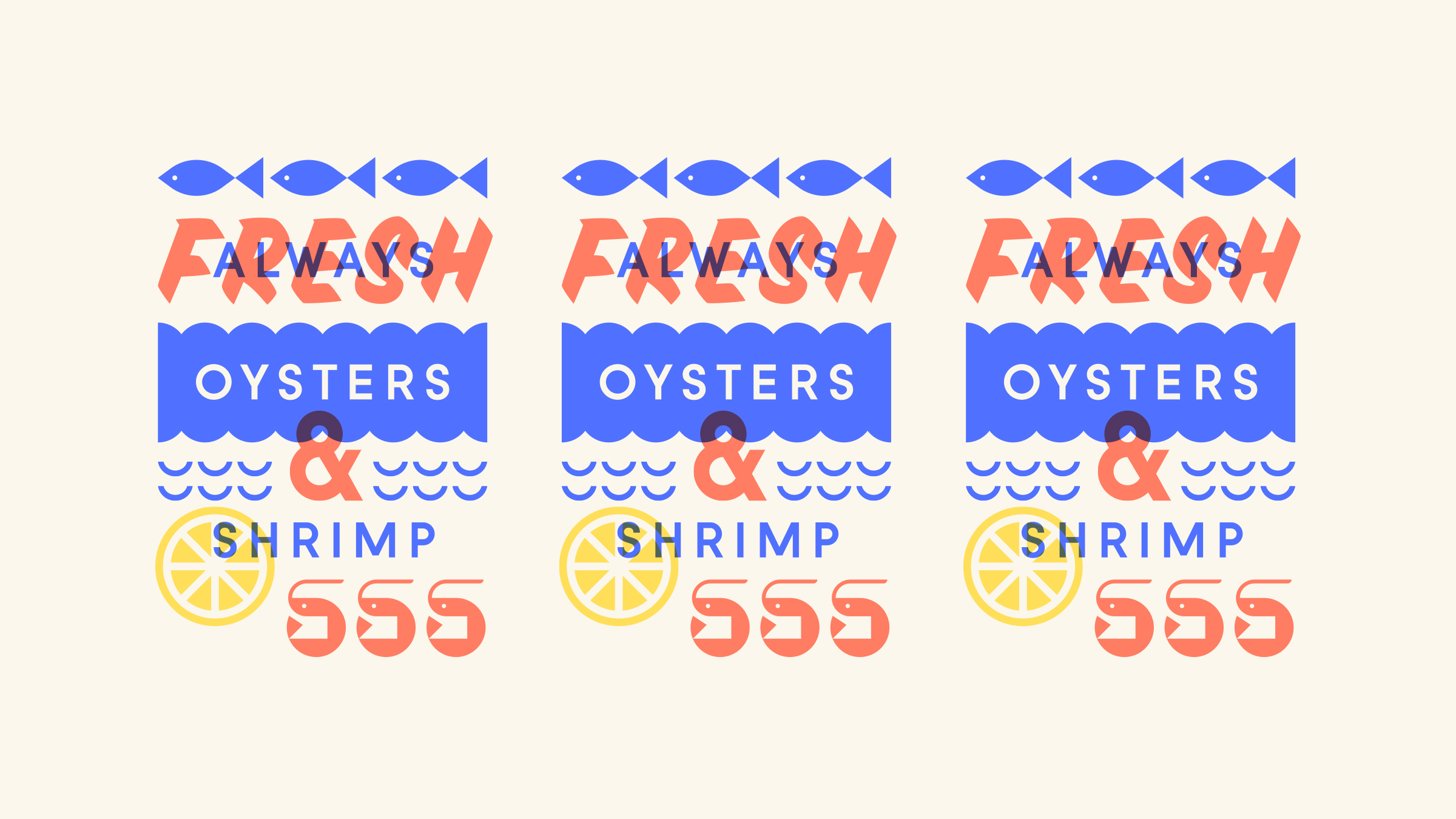 Ella & Ollie's Fresh Oysters and Shrimp Illustration