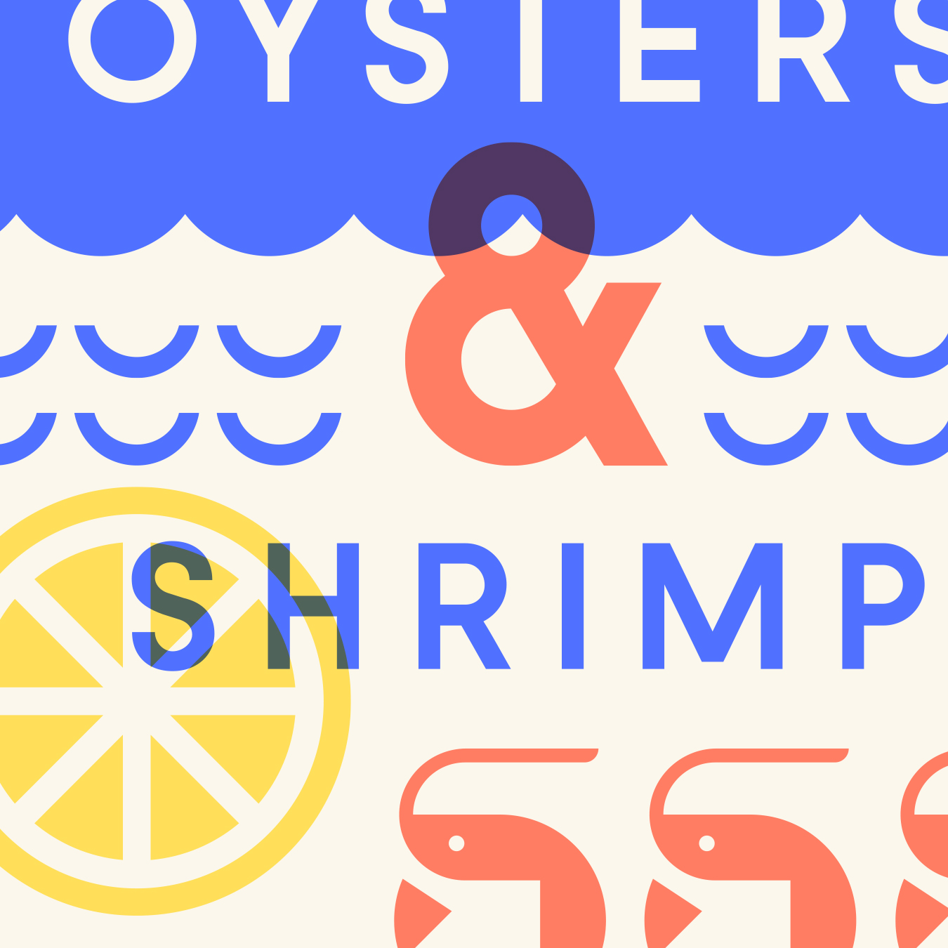 Ella & Ollie's Oysters and Shrimp Illustration Detail