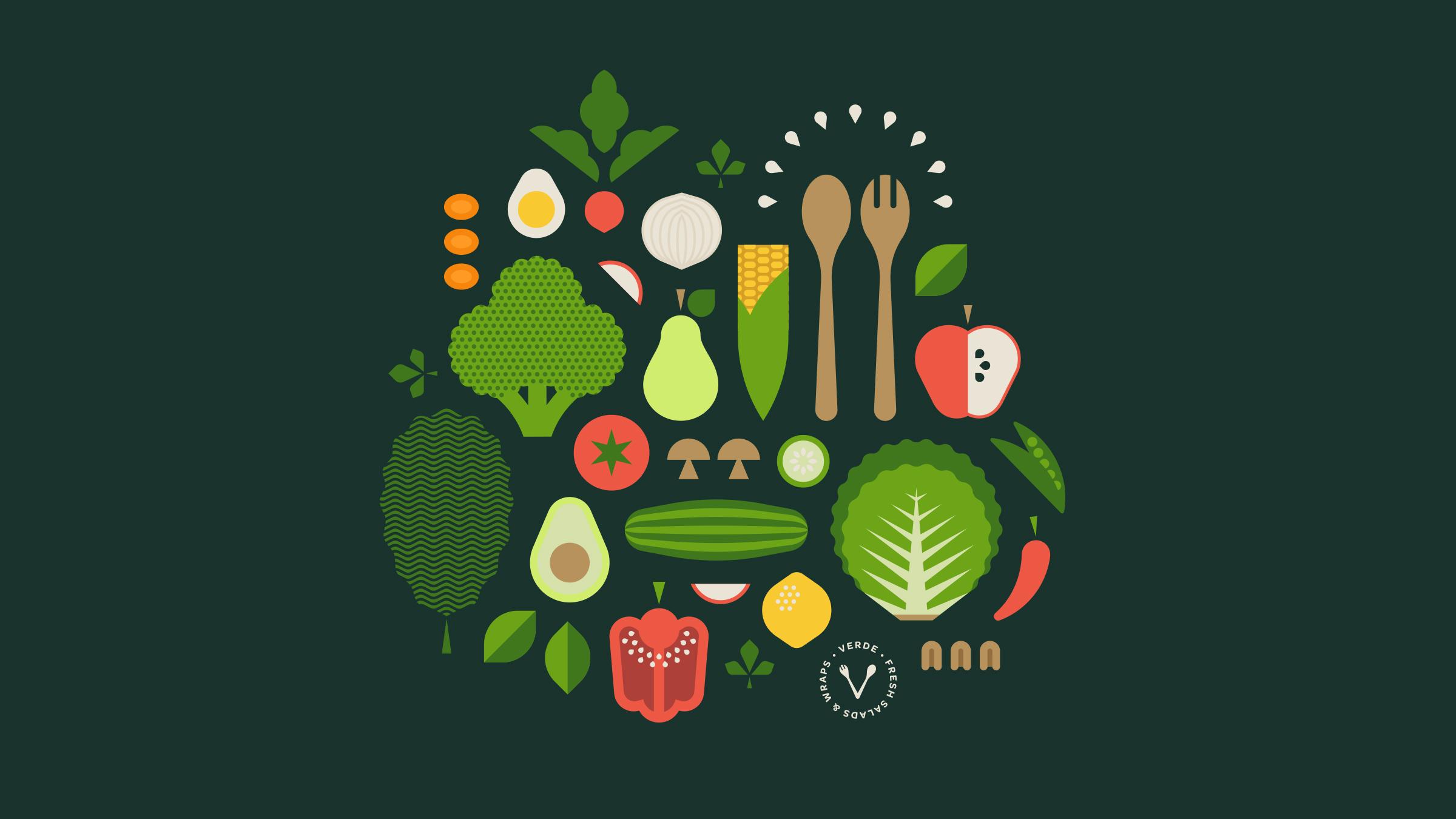 Verde Salad Restaurant Vegetable & Fruit Icons