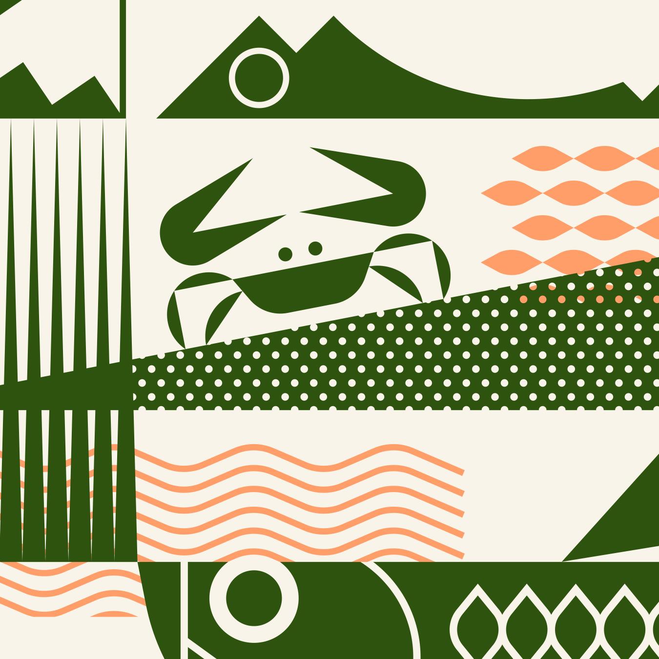 Everglades Alligator, Crab and Tarpon Illustration Detail