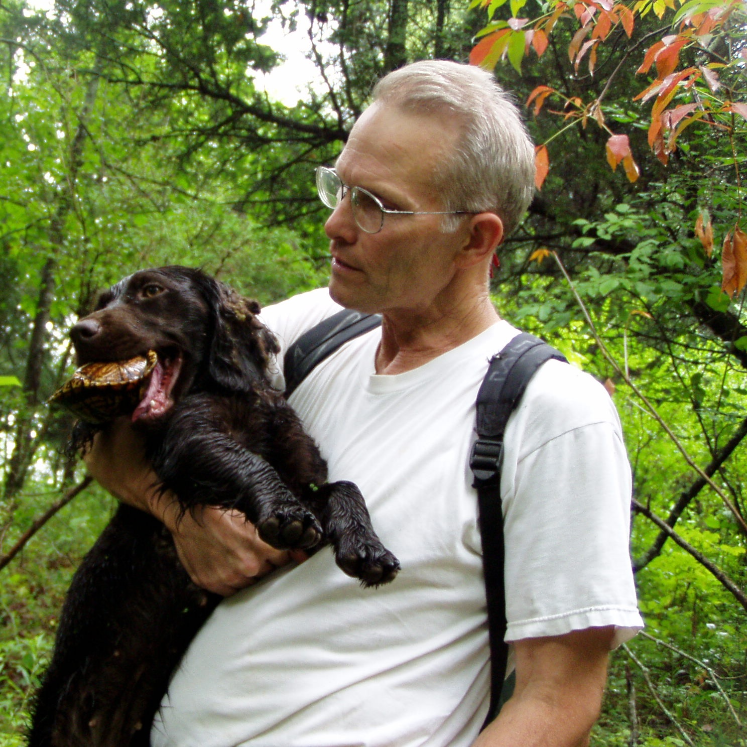 John Rucker with his Springer Spaniel who has just caught a Box Turtle