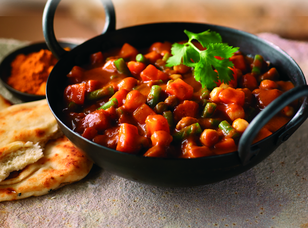 Chickpea and Vegetable Curry - A warm mix of spices with vegetables and chickpeas to make a medium spiced curry.