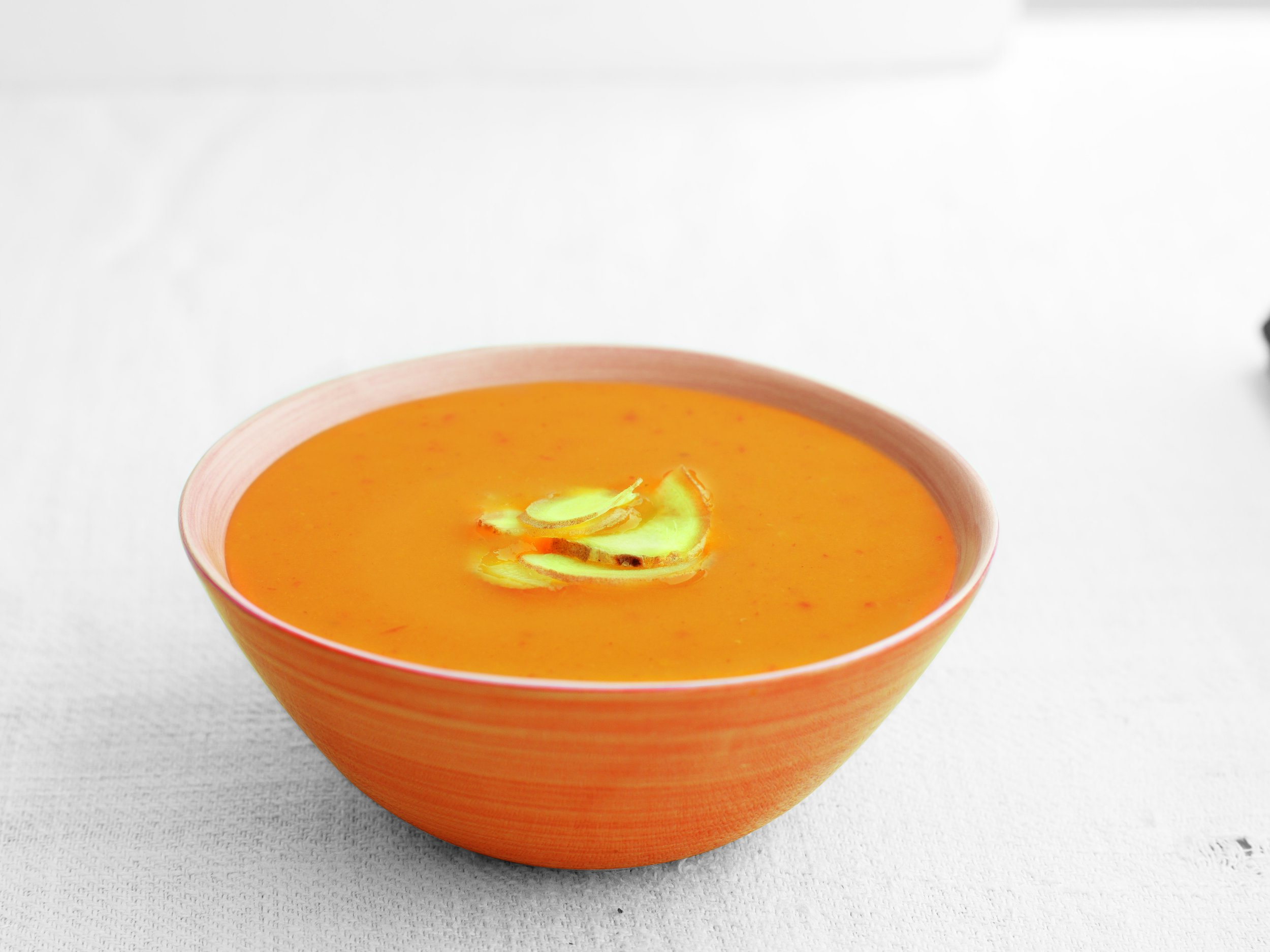 Butternut Squash & Ginger - A low fat soup made with butternut squash balanced with a hint of fiery ginger.