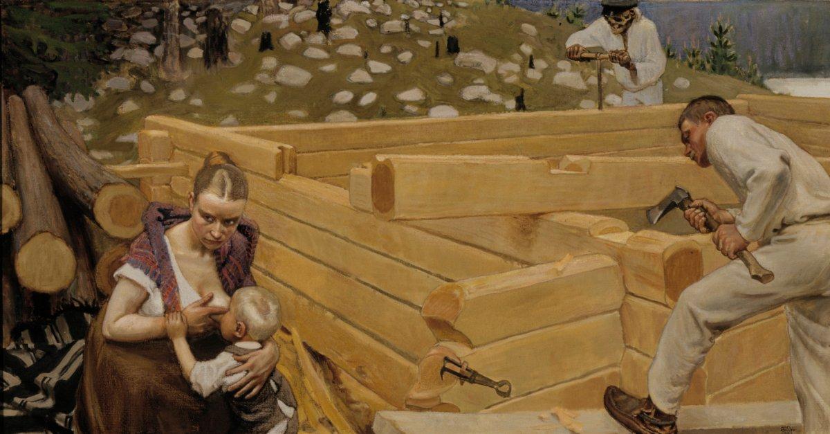 Akseli Gallen-Kallelan Rakennus -freskon esityö (1903). Kansallisgalleria, kuva: Wikimedia Commons.
