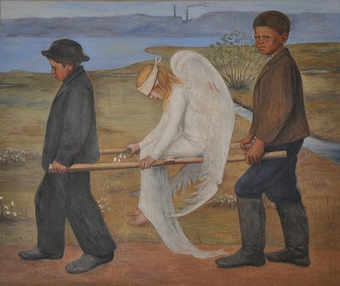 Hugo Simbergin fresko Haavoittunut enkeli (1905) Johanneksen kirkossa (nyk. Tampereen tuomiokirkko). Kuva: Wikimedia Commons.