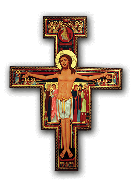 The San Damiano Cross - The San Damiano Cross is well-known as the one beneath which St. Francis was praying when he heard Christ commission him to