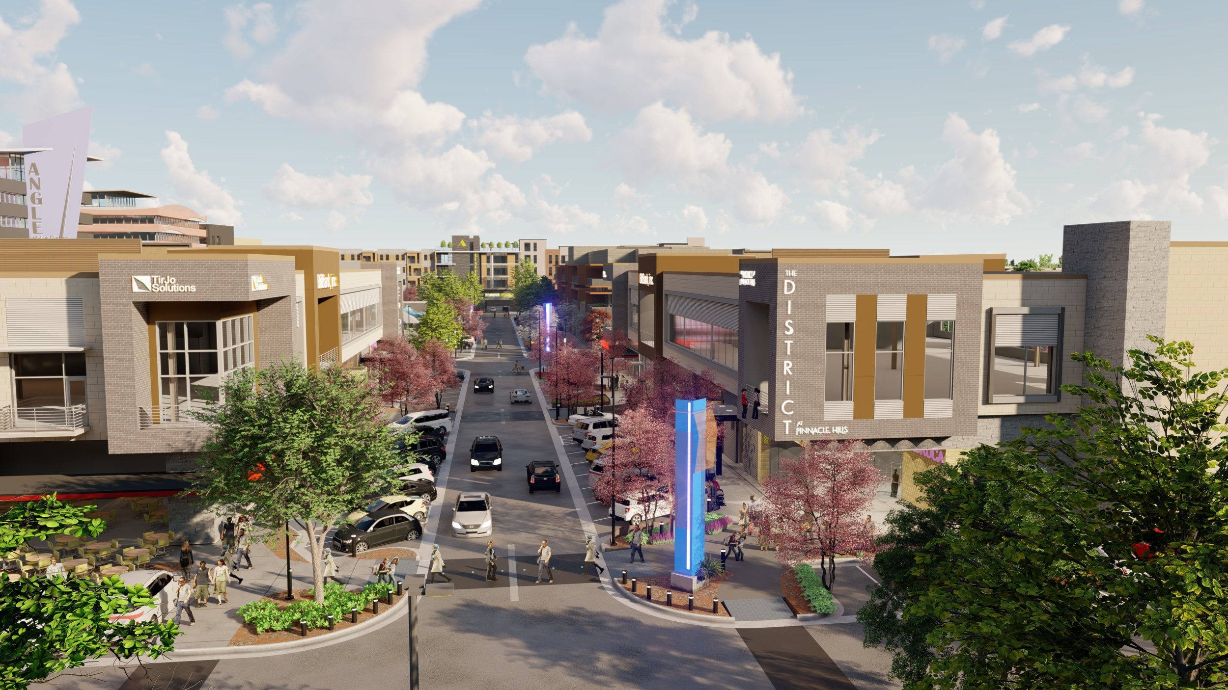 The District seeks to create a true walkable, mixed-use neighborhood in Rogers, conjoining residential, commercial and entertainment amenities with the nearby trails system.