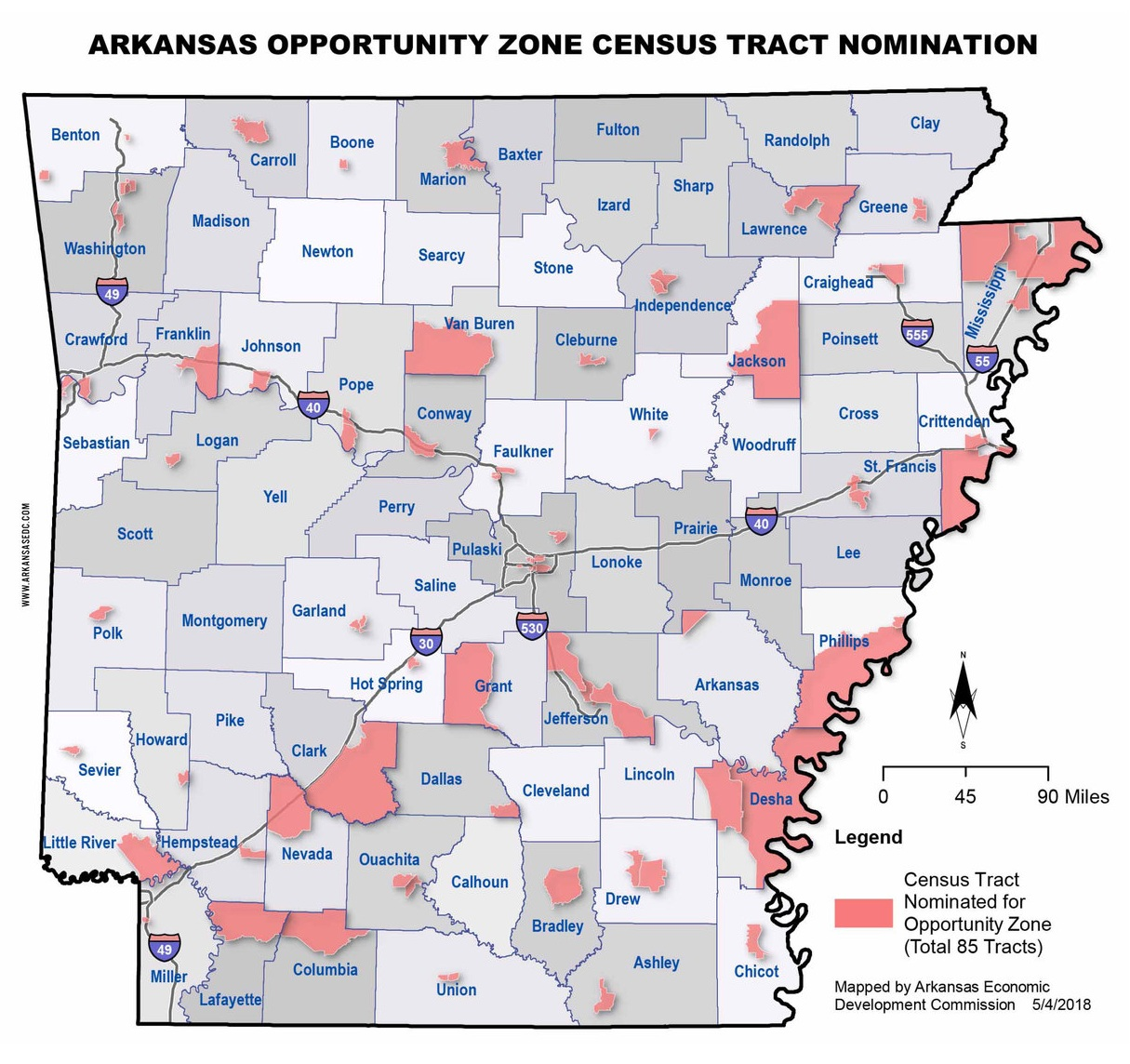 Governor Asa Hutchison designated 85 Opportunity Zones in 2018. More information is available from the Business Finance and Incentives Division at the Arkansas Economic Development Commission.