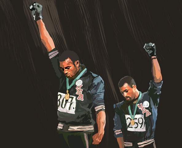 Designer Ron Wong's rendition of Tommie Smith and John Carlos' iconic raised fist salute.