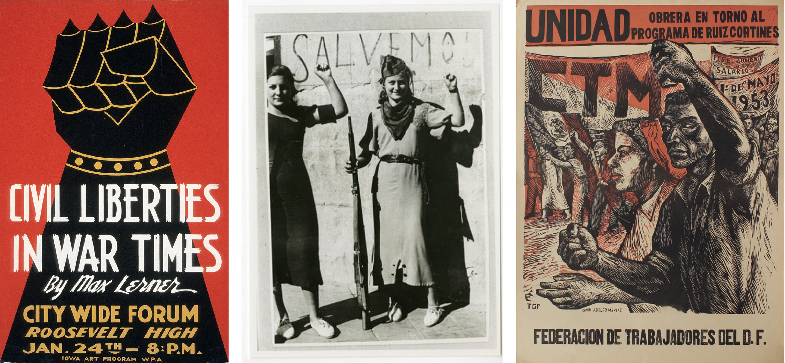 The raised fist already had an international profile by mid-century, as seen in a 1940  American advert ; a 1933 image from the  Spanish Civil War ; and a 1953  TGB poster .