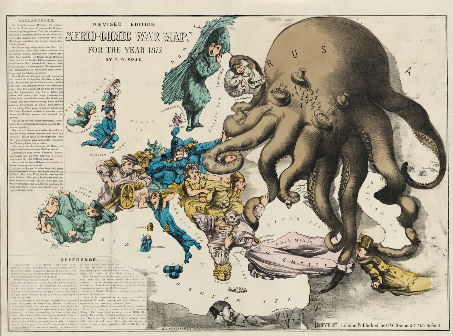 English artist F.W. Rose gave Russia the octopi treatment in 1877….