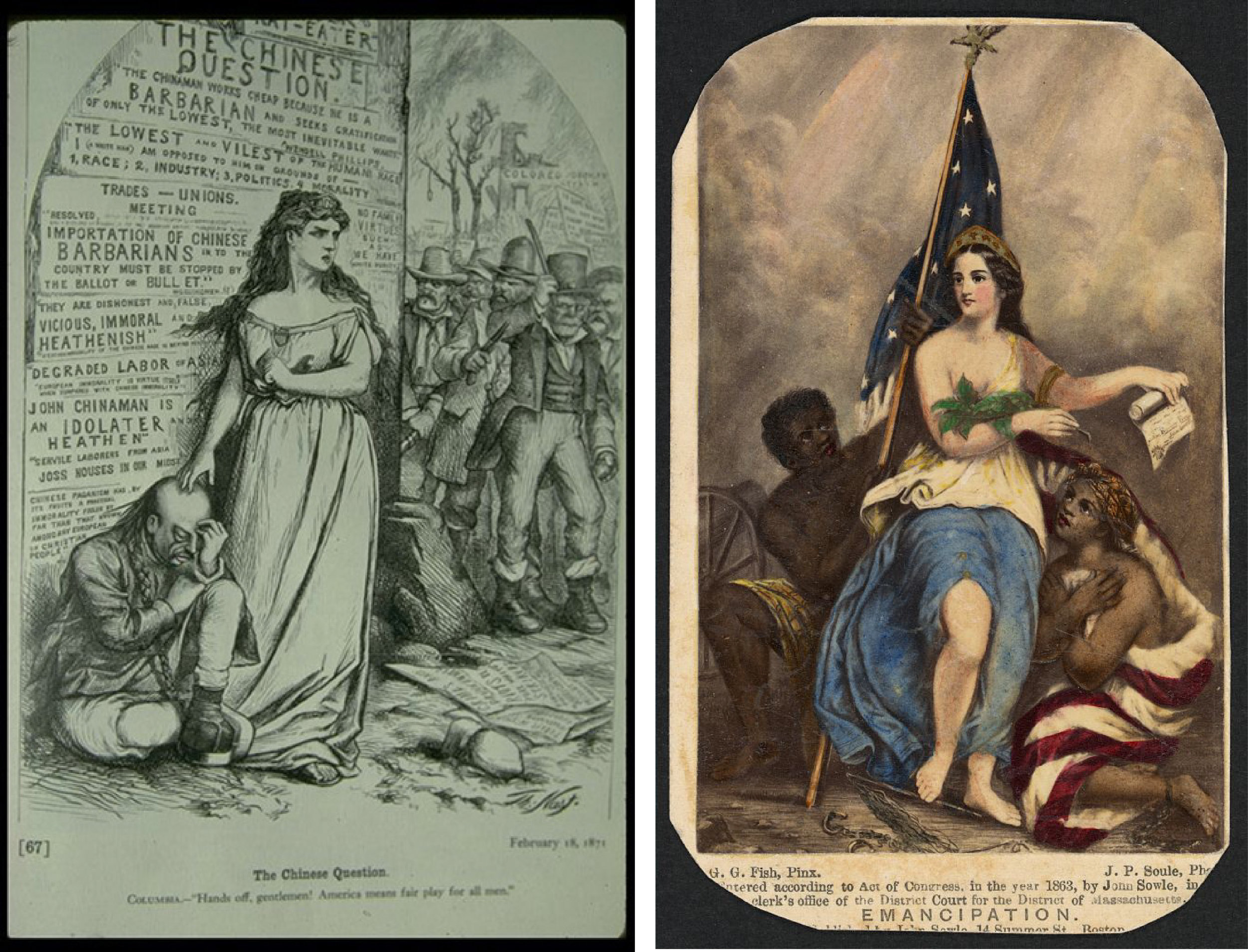 Two views of Columbia standing with the oppressed: on the left, Thomas Nast's 1871 commentary on anti-Chinese xenophobia; on the right, John Soule's 1861 work showing Columbia fighting for emancipation.