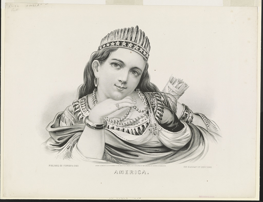 An 1870 Currier&Ives image of the Indian Princess, dethroned but still making special appearances.