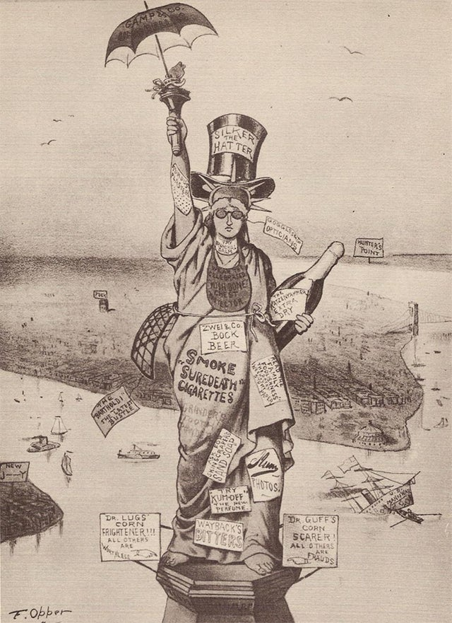 Opper's 1885 critique of the Statue of Liberty.