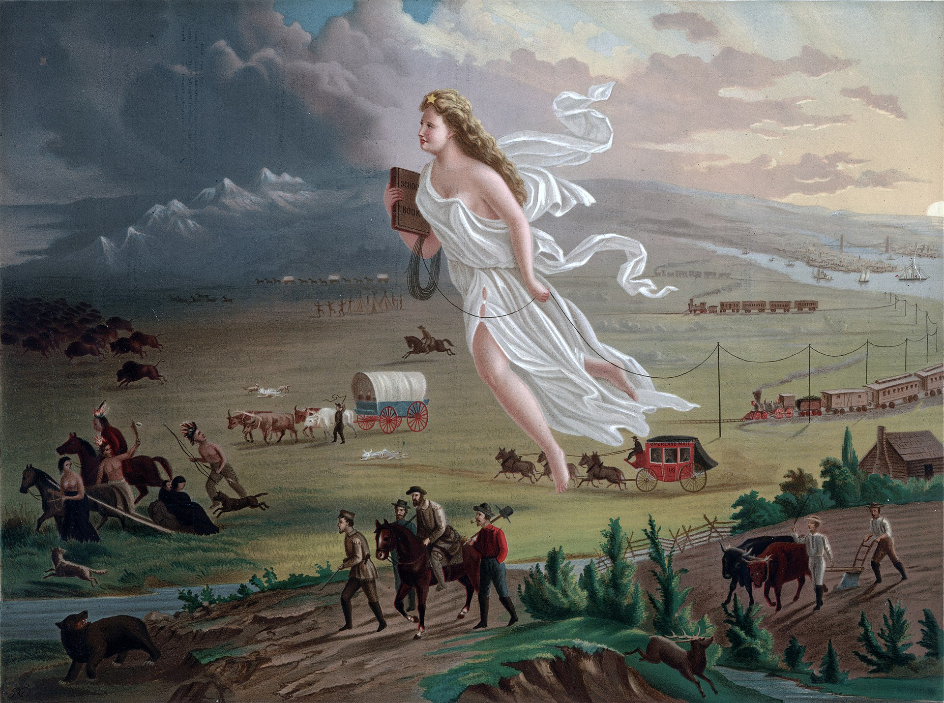 John Gast's iconic image of Columbia leading Americans west, 1872.