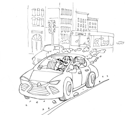 Designer Ron Wong's depiction of a particularly pungent Uber trip.