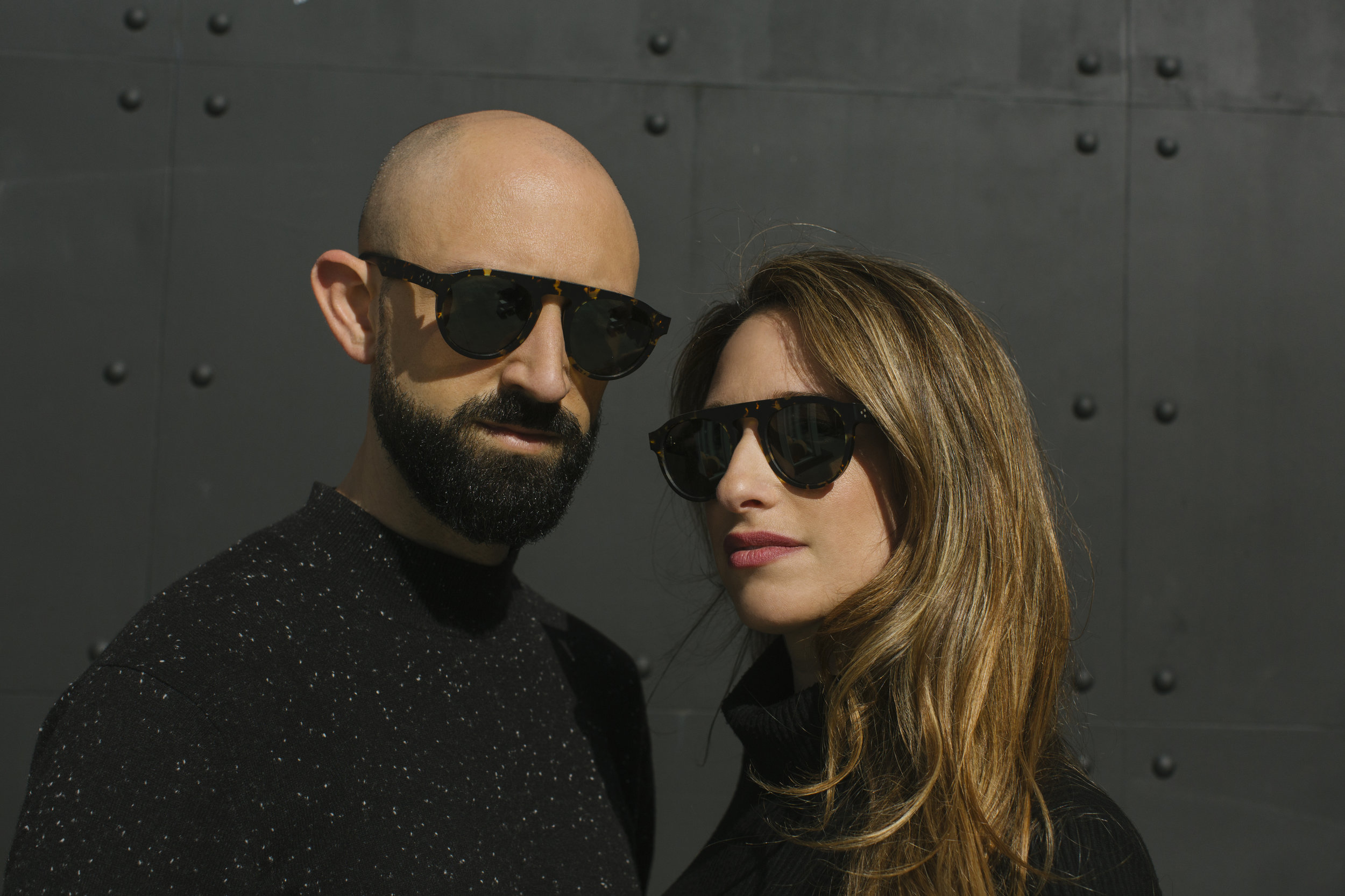 Just Human founders Craig and Stacey in shades of their own sustainable creation, courtesy of Just Human.