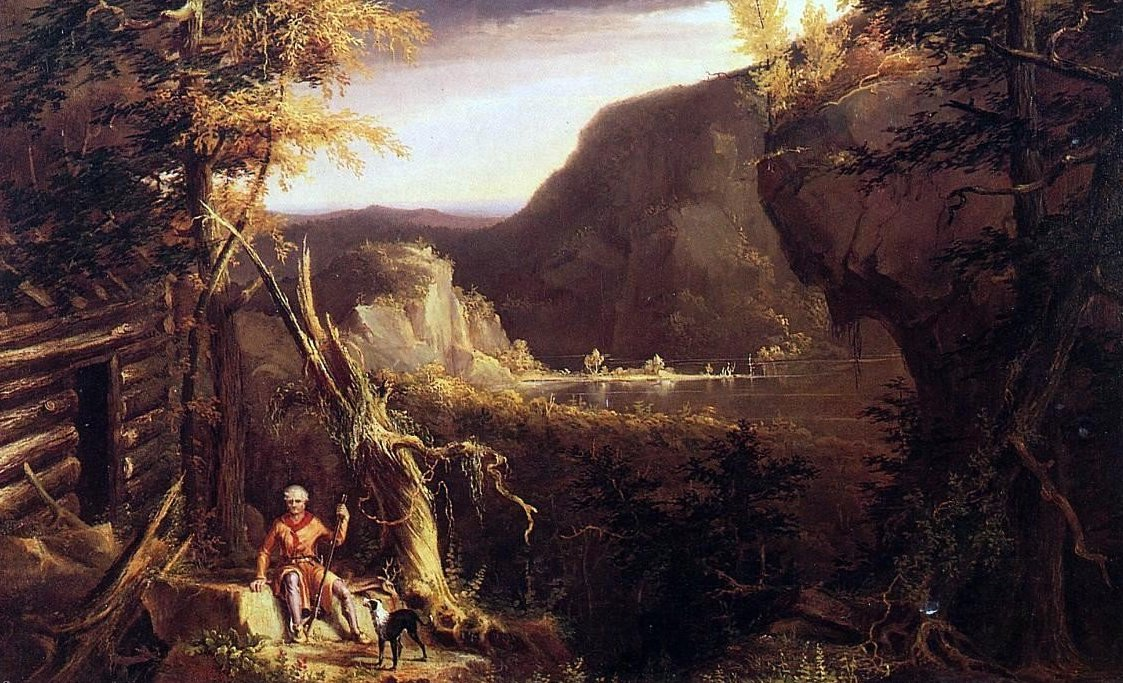 """Thomas Cole, """"Daniel Boone Sitting at the Door of His Cabin,"""" 1826, changed American self-perceptions."""