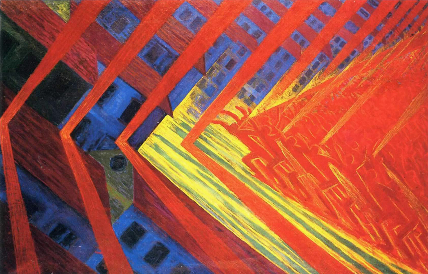 "Luigi Russolo's 1911 painting ""La Rivolta"" exemplifies the Futurists' obsession with ferocious new methods."