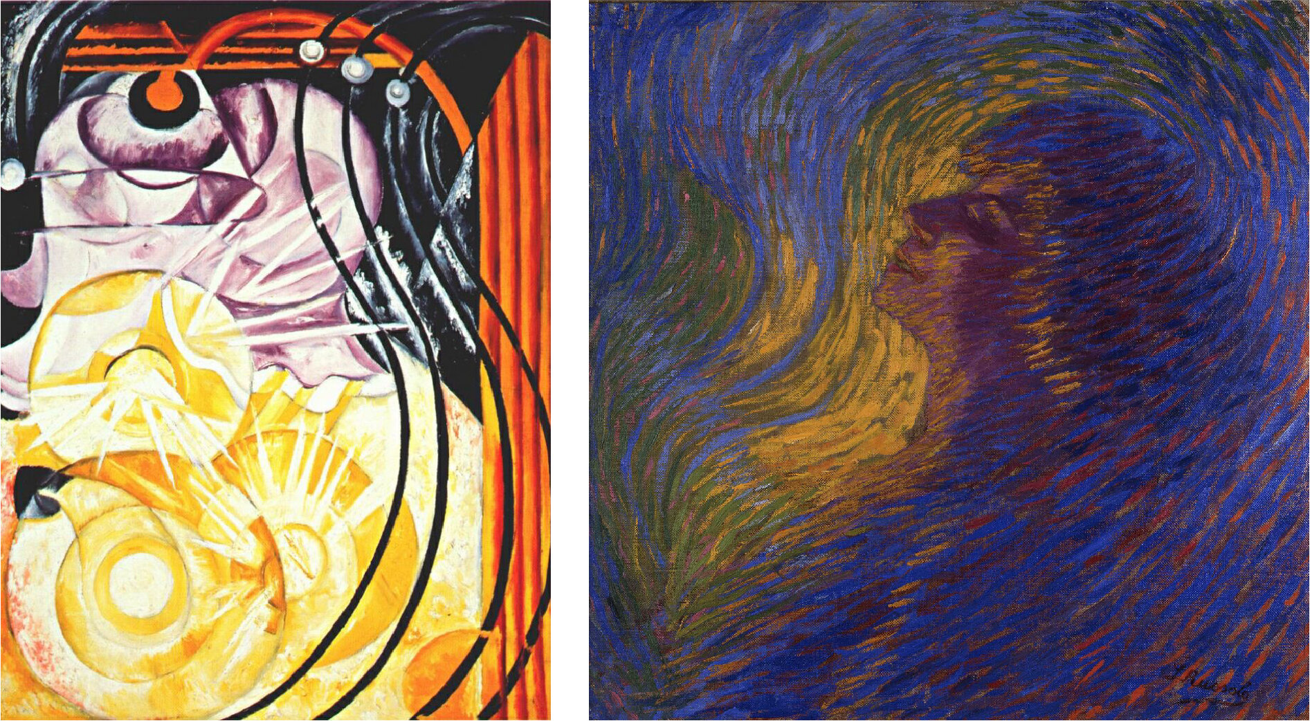 "Natalia Goncharova's 1913 piece, ""The Electric Light,"" and Luigi Russolo's 1910 ""Profuma"" show the movement's new aesthetic techniques in action."