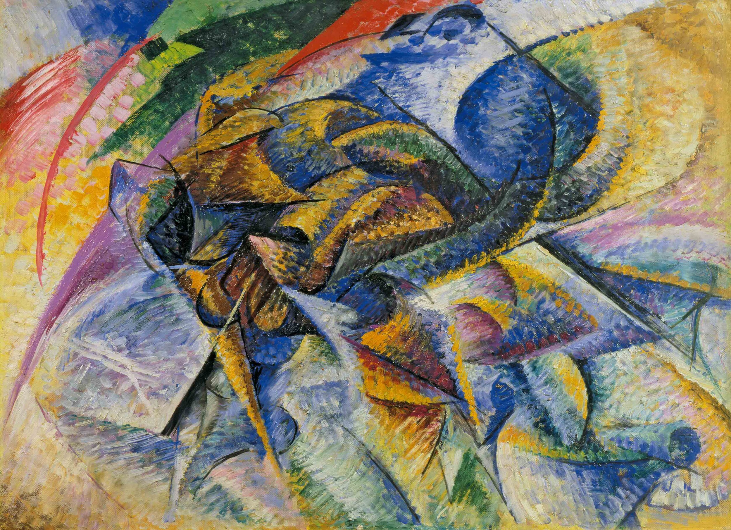 "Umberto Boccioni's ""The Dynamism of a Cyclist"" (1913) and Russolo's ""The Dynamism of a Car"" (1913) have more violent edges, indicating the Futurists' fatal flaw."