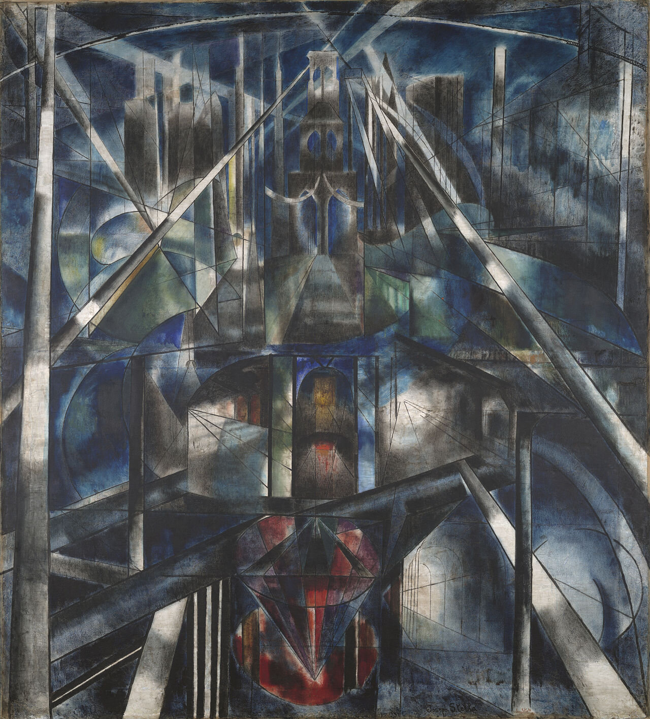 """Brooklyn Bridge,"" painted by Italian-American painter Joseph Stella in 1919, shows that Futurism lived on even after the official movement ended."