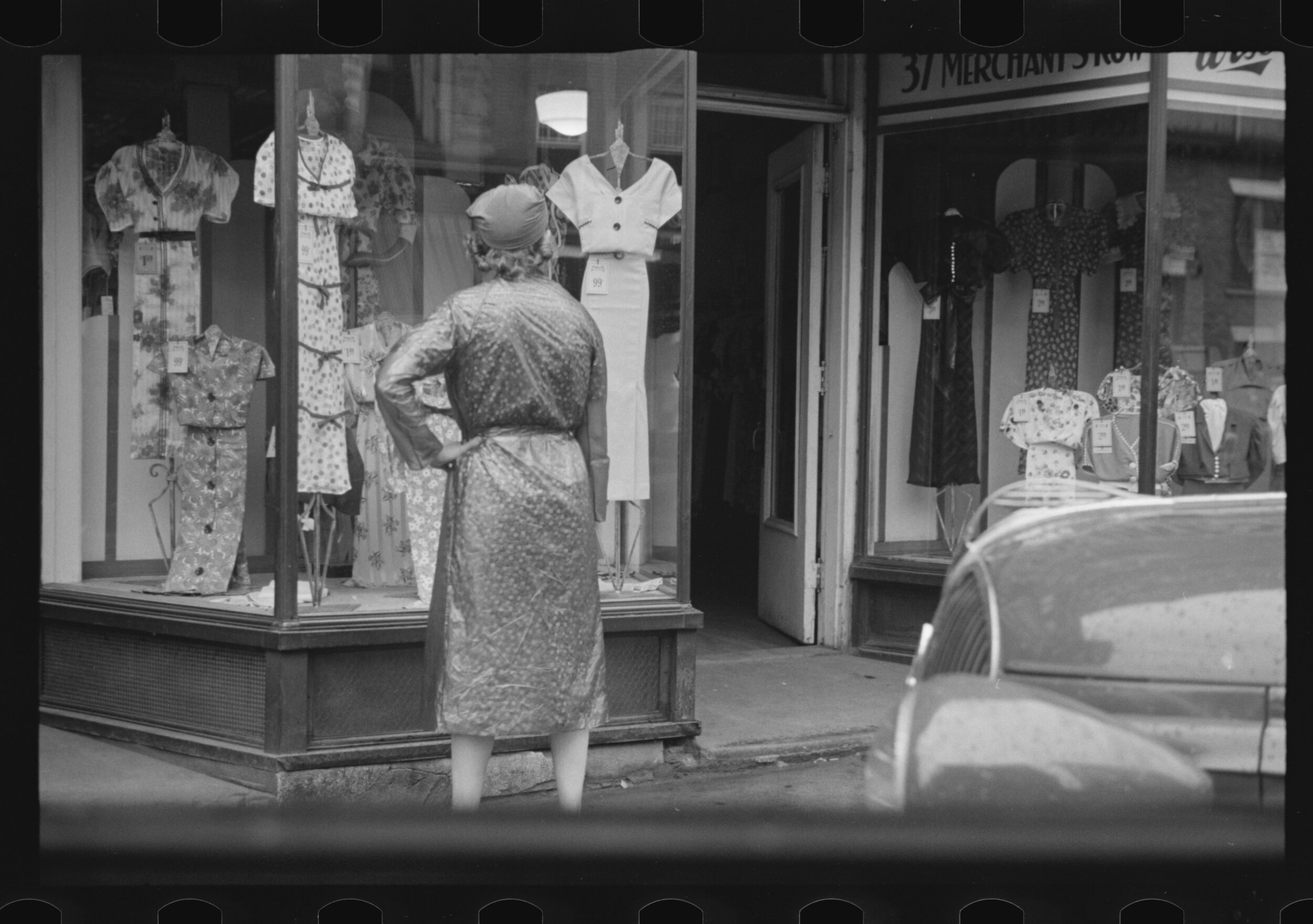 """""""Window Shopping, Manchester, New Hampshire, Edwin Locke, 1937, courtesy the  Library of Congress ."""