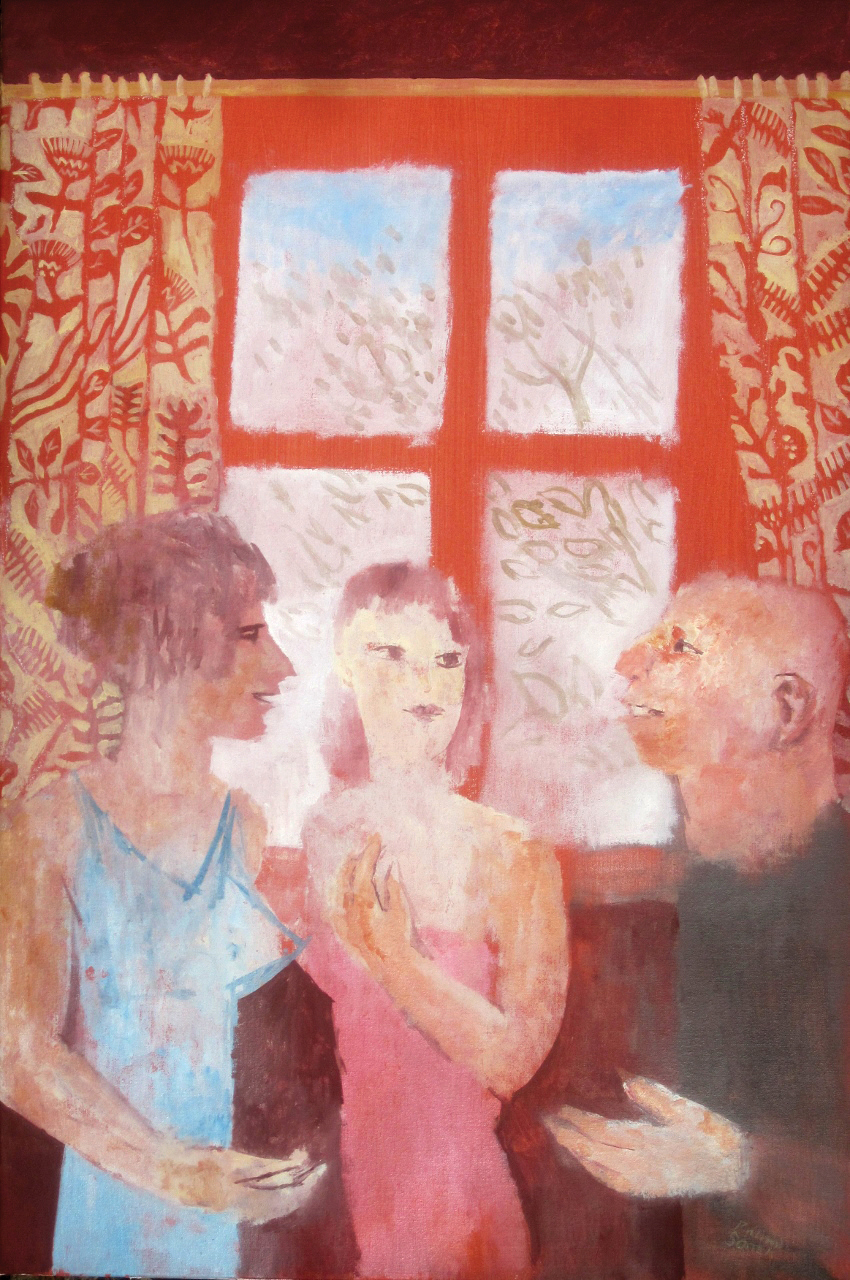 Three People in front of a Window , oil, 85x120cm