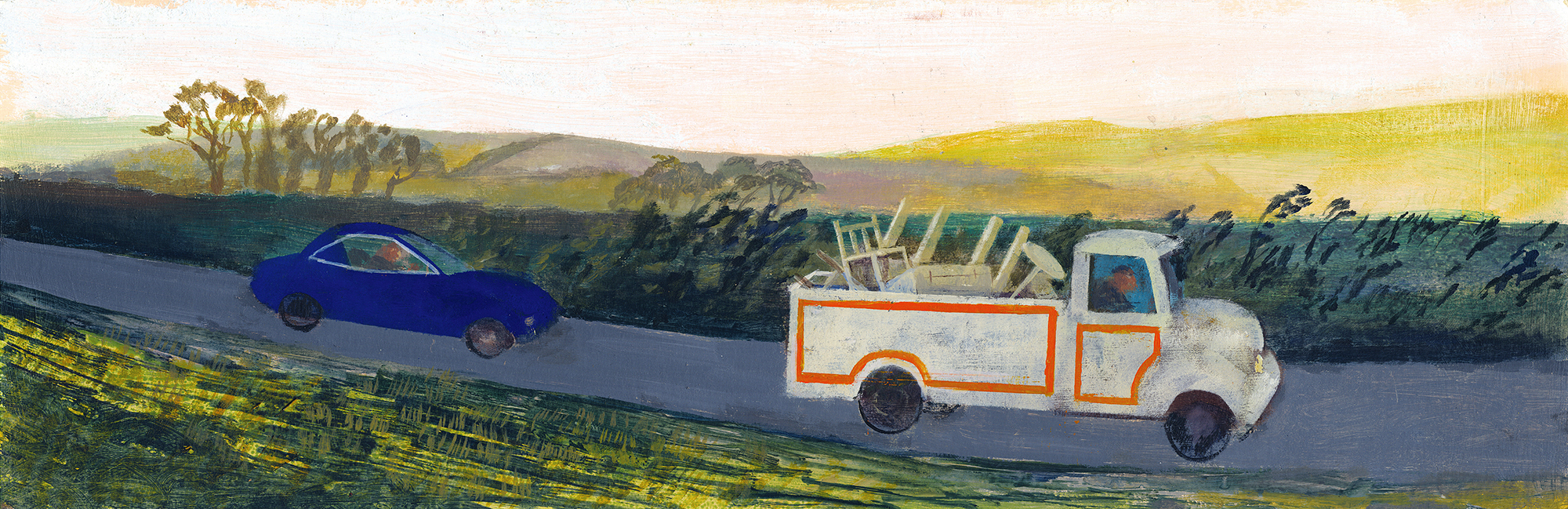 Removals Lorry , acrylic, 19x60cm