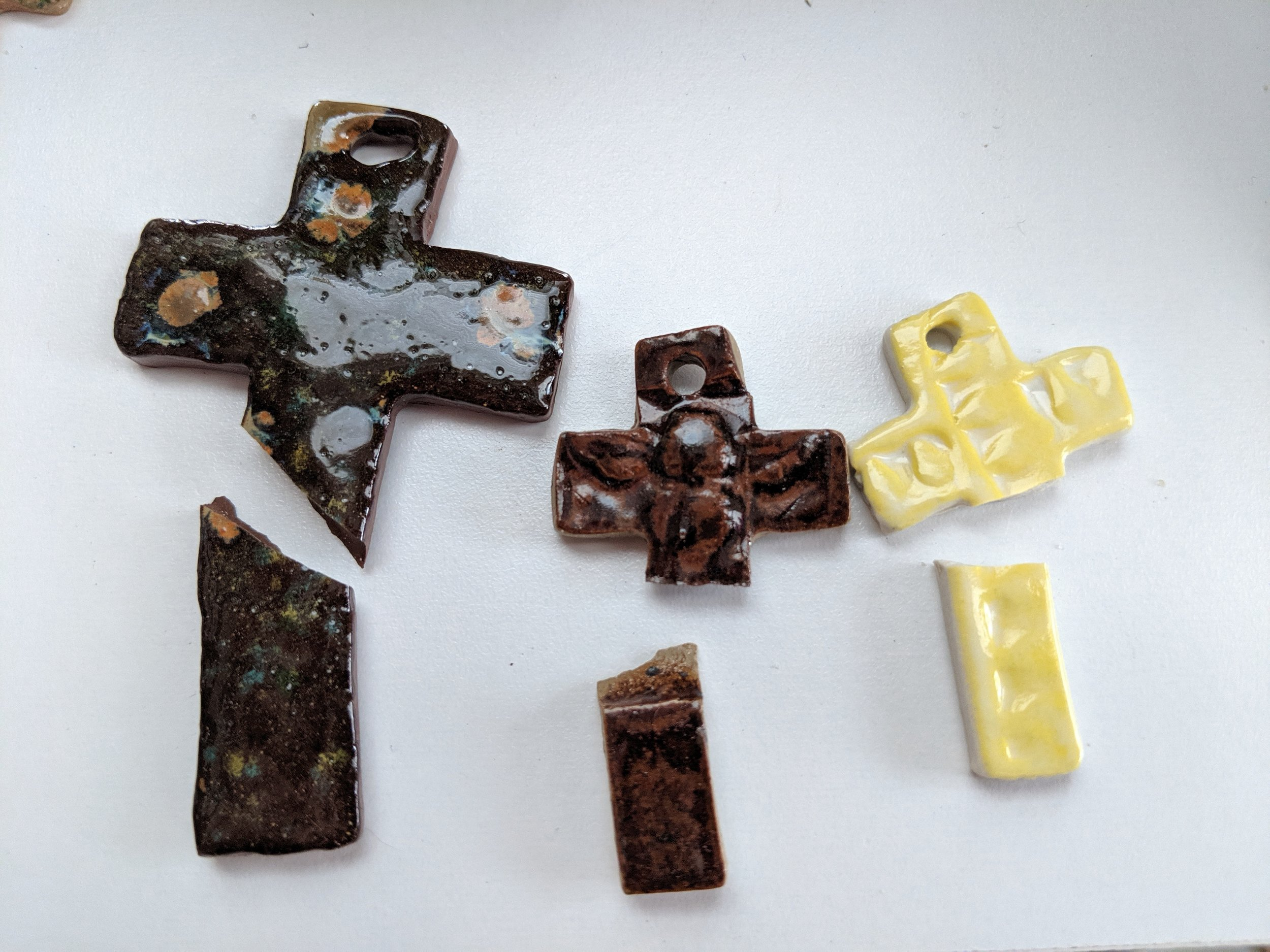 I keep my broken crosses for future mosaic projects.