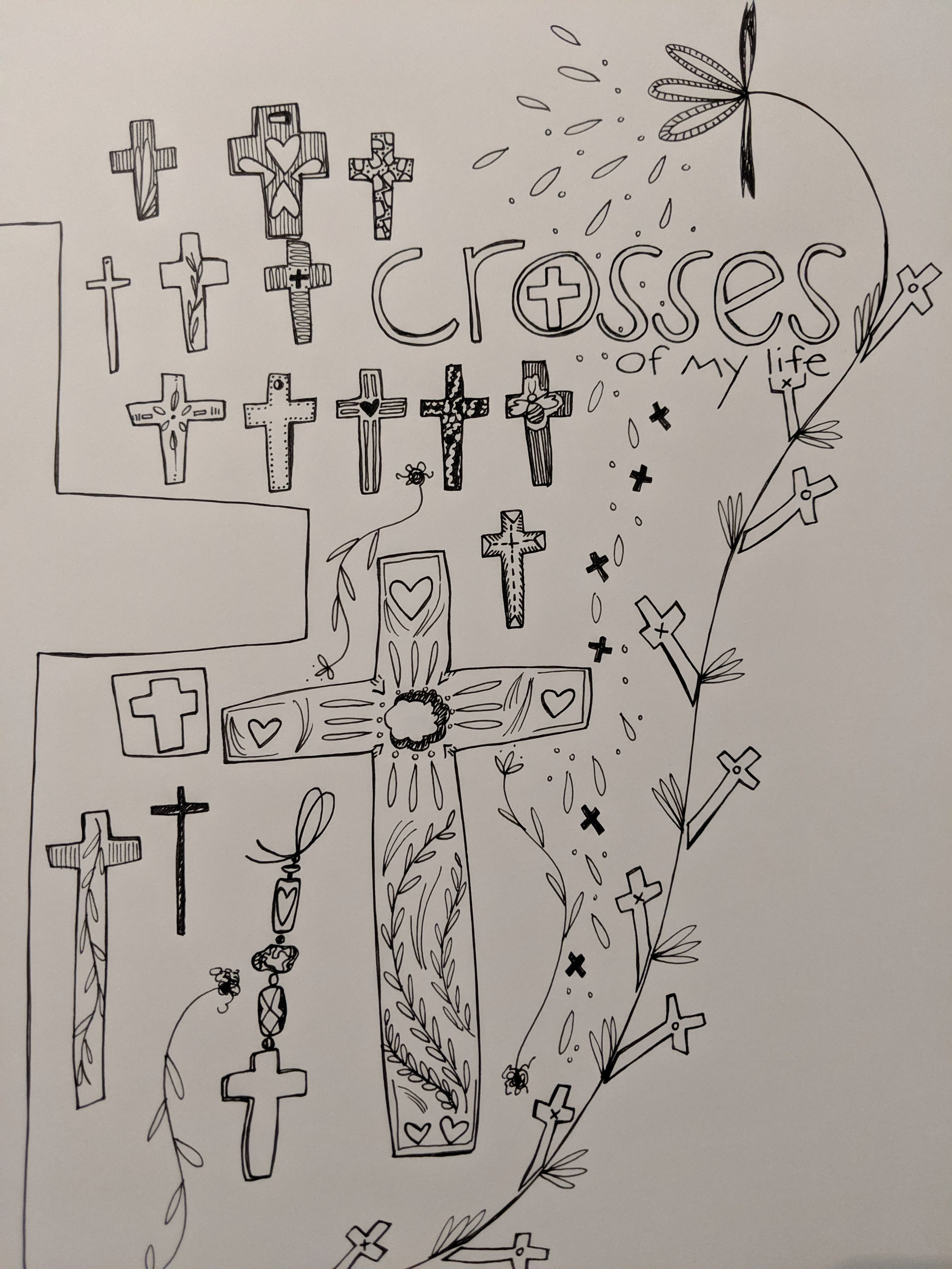 Way back when, it all started with drawing crosses. The crosses I drew became bookmarks and lent favors with a few children's bible study classes on Wednesday nights. Sweet memories I hold dear.