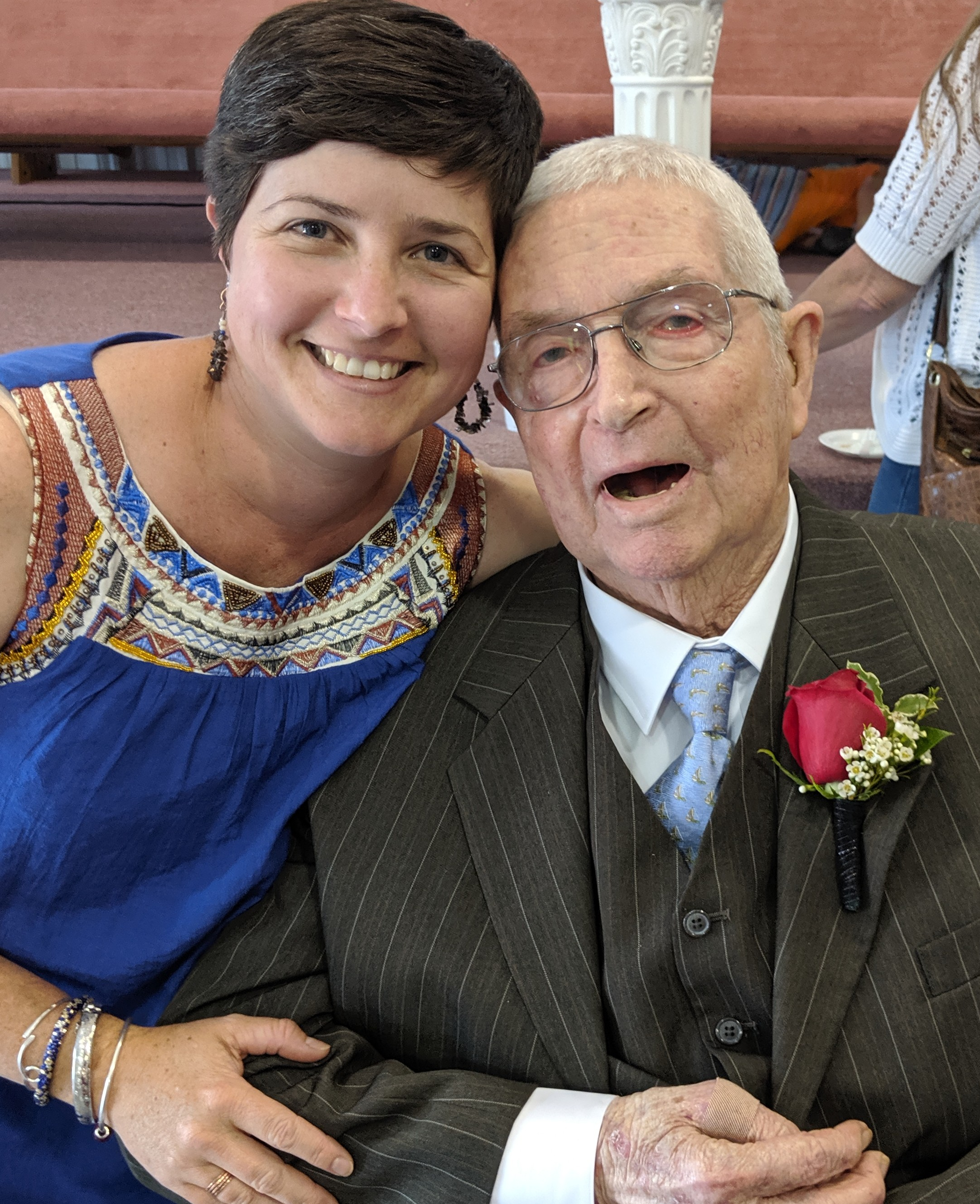 Pawpaw and I at his 90th birthday celebration.  He looks great in his suit and tie!