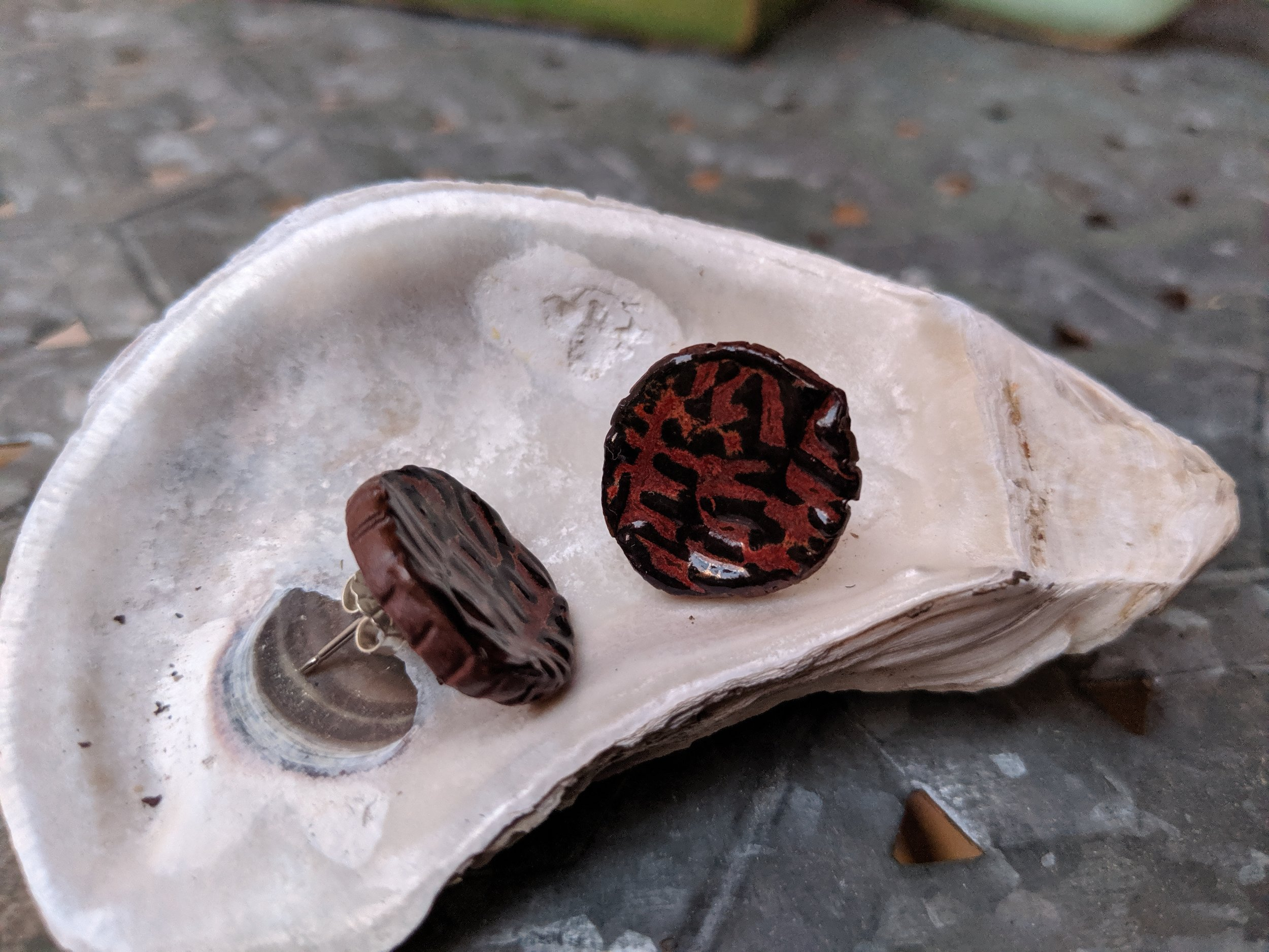 Red clay stud earrings. New!!