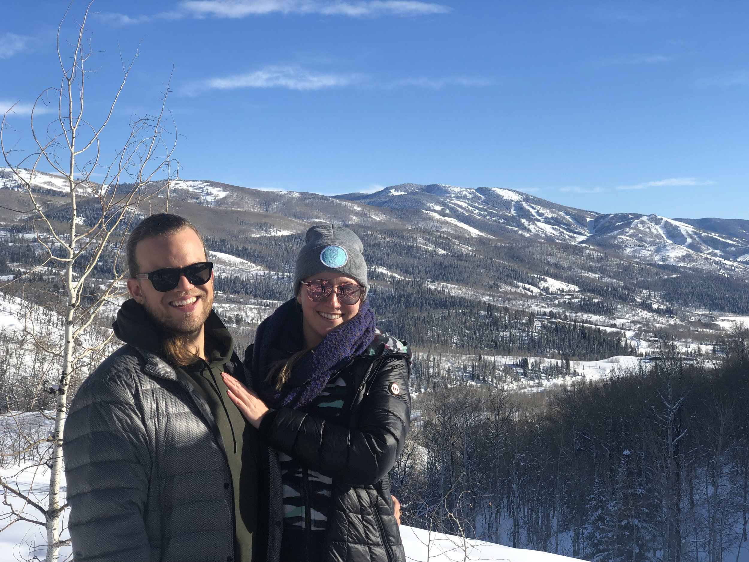 Brit and Jonah during the B Zen Wellness Winter Wonderland Retreat near Strawberry Park Hot Springs in Steamboat Springs, CO.
