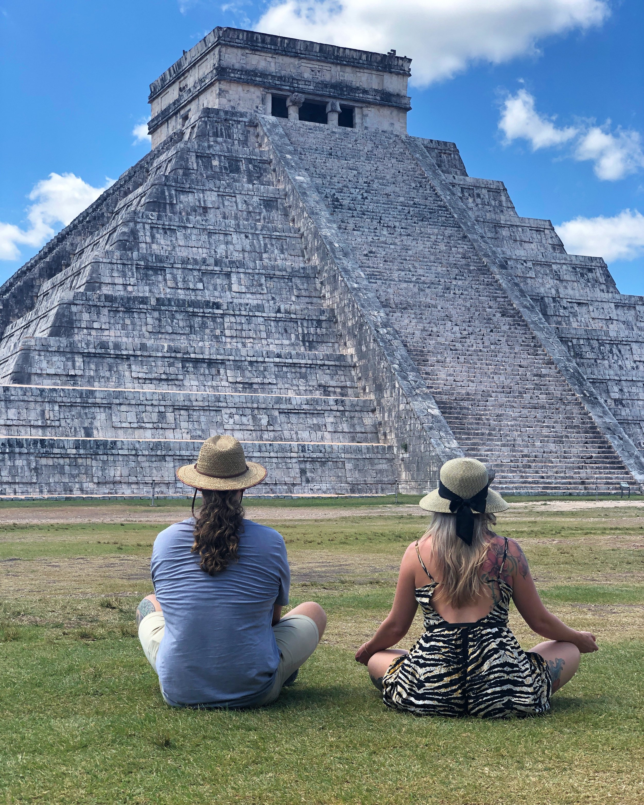 Brit and Jonah admiring the Mayan Temple, Chichen Itza, in the Yucatán Peninsula.