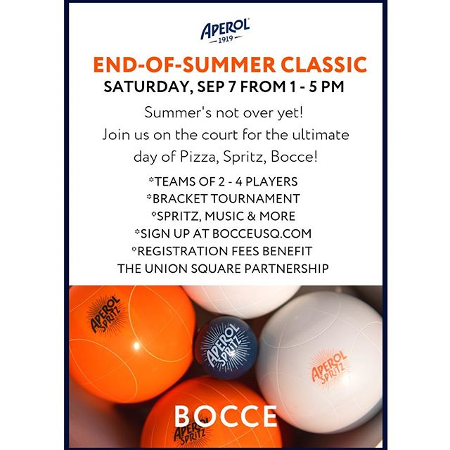Who's spending their lunch break this week training for the End-of-Summer Classic? Sign up your team for Saturday's Bocce Tournament (Aperol Spritz & Pizza included in your registration) #boccetournament #weekendplans #nycweekend #bocce #timeoutnewyork
