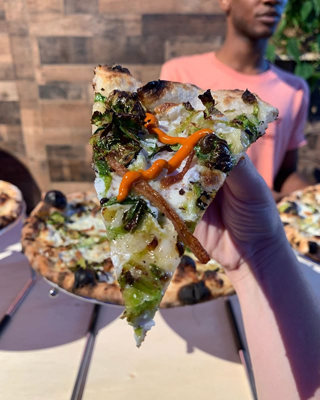 Brussels Sprouts, Caramelized Onions, Rupert Cheese, House Mozzarella, Naturally Leavened Sourdough Crust + Special Sauce on the side. Only at #USQHarvest tonight in Union Square Park.