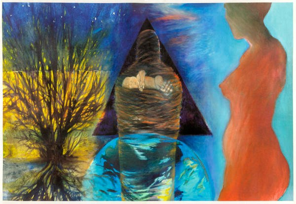 Acrylic and oil paint images reproduced as glicée print on parchment, 2011