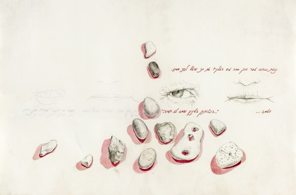 Pencil, watercolour, embroidery silk on parchment, 2011