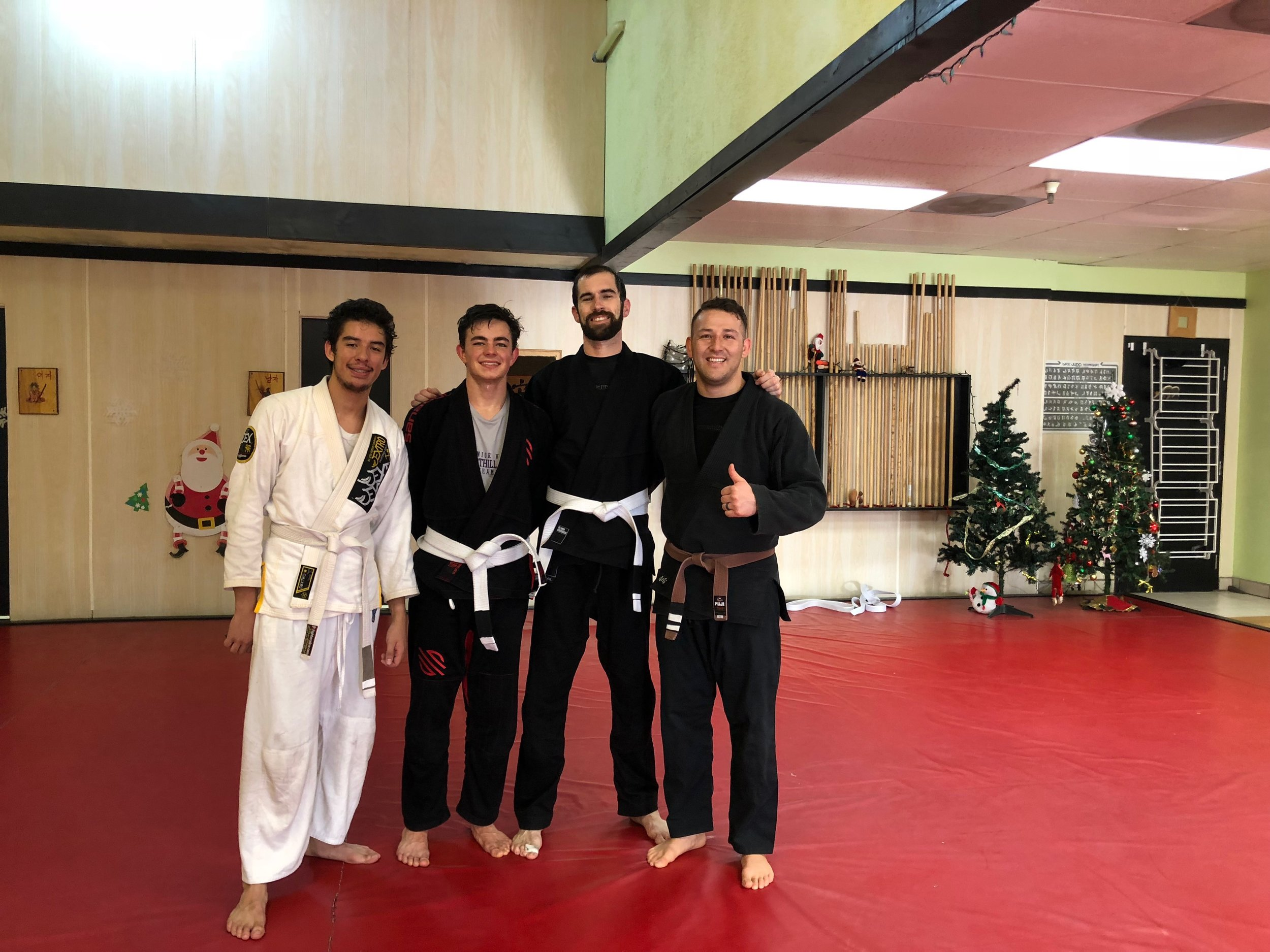 "💥 💥 💥 Extremely proud to have awarded our first stripes to Kelvin 🥋, Bobby 🥋 , and Darren 🥋 , who stayed after class to demonstrate mastery over our ""Beginners Study Guide.""  Many of our other students are right there(or getting close) as well.  Video coming soon.  Way to go guys!!! 💪   #jiujitsuforeverybody"