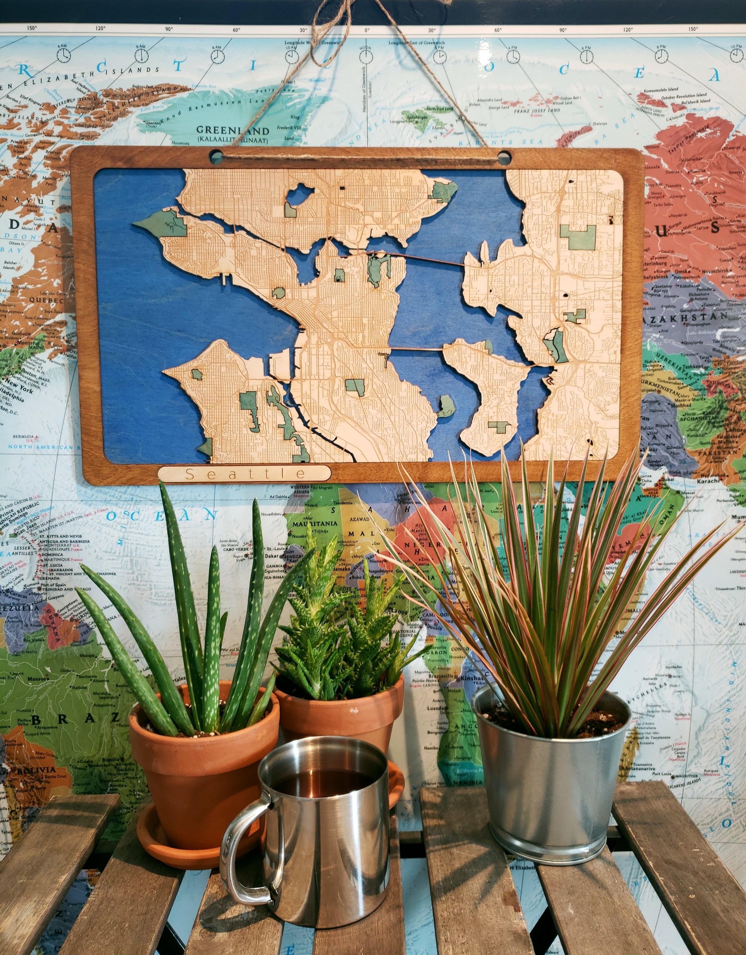 Seattle Wooden Map