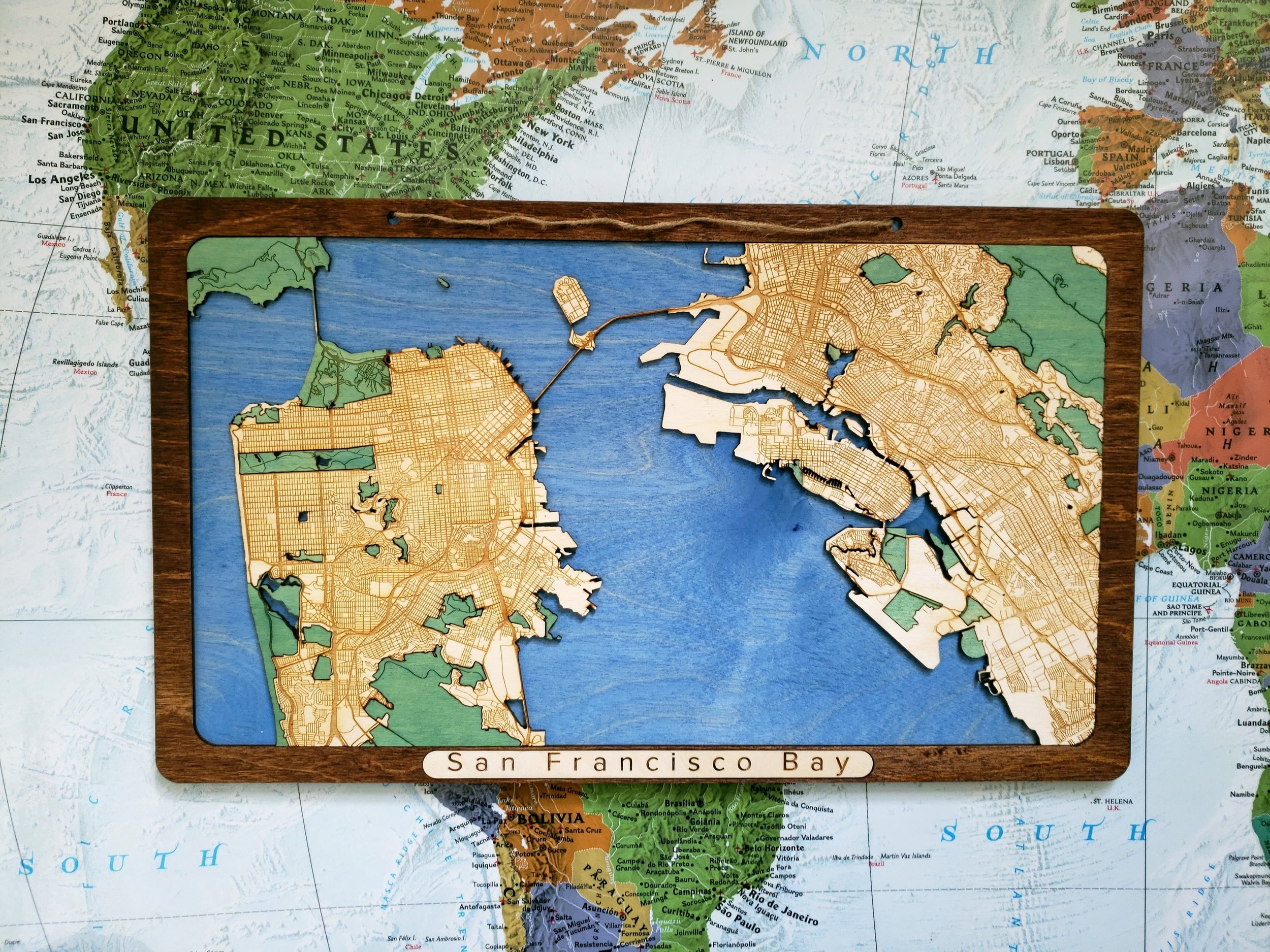 Picture of: San Francisco Bay Area Wooden Map Woodscape Maps