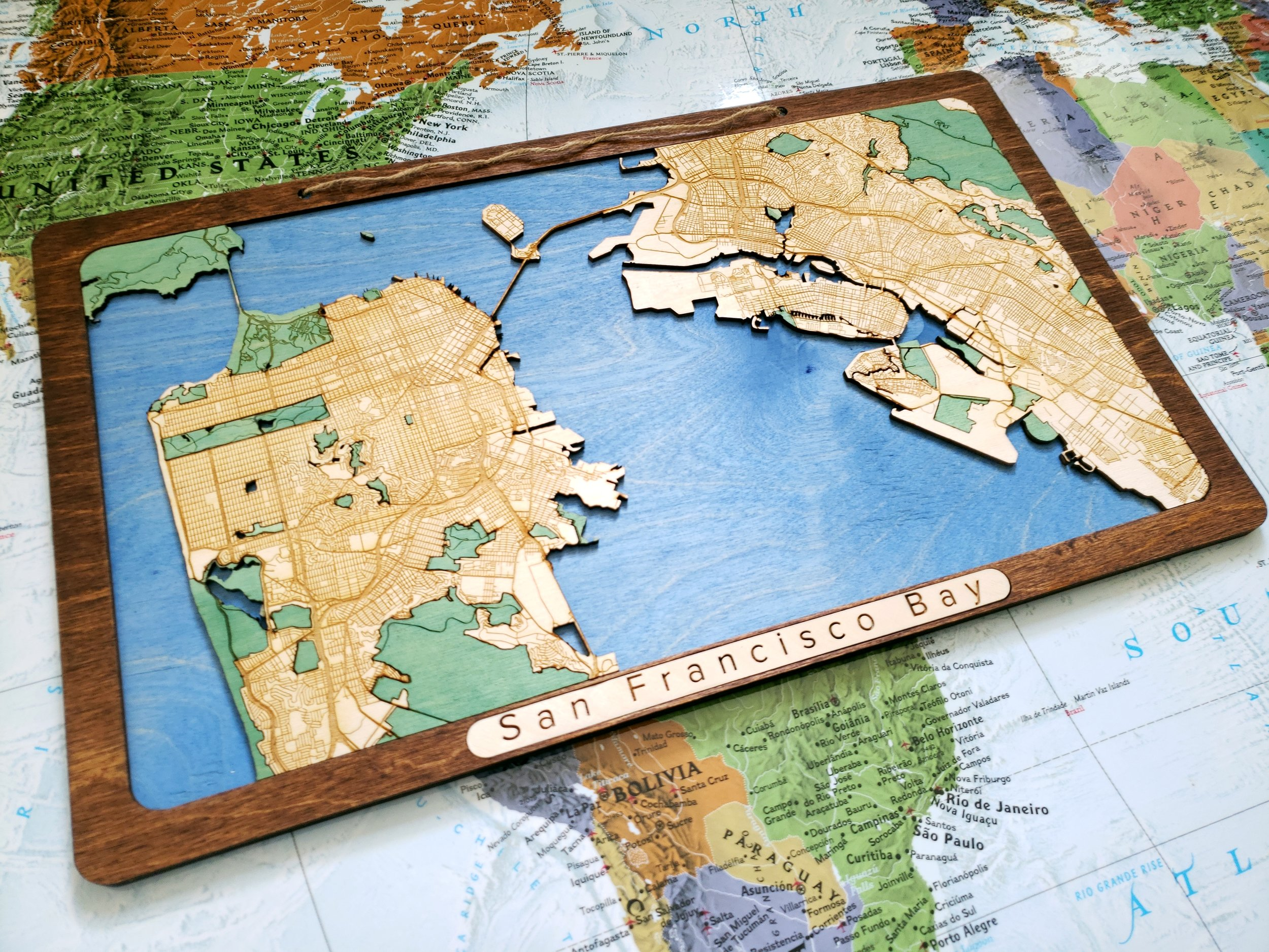 San Francisco Bay Area Wooden Map