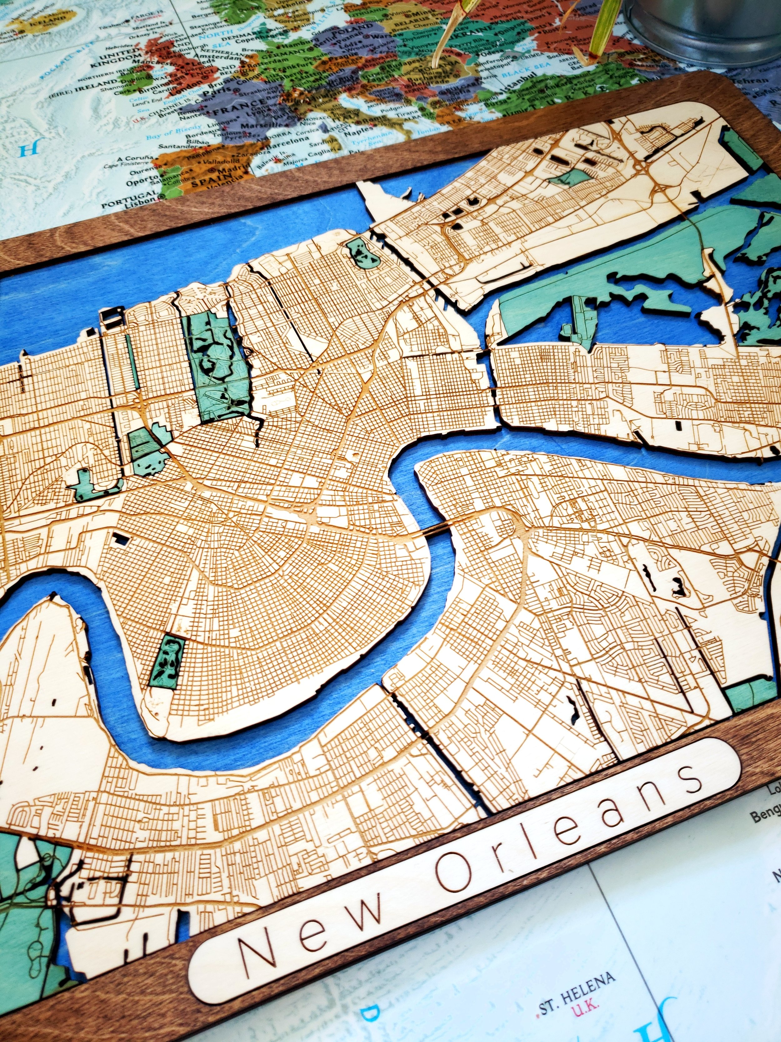New Orleans Wooden Map, Custom Wooden Maps, Custom Wooden Map, Wooden Maps, Wood Map, New Orleans gift, New Orleans unique gift, Map gifts, world wooden map